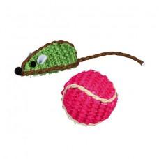 Игрушка из сизаля для кошек Trixie 40760 Набор (мышка+мячик)
